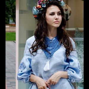 Dresses & Skirts - Blue linen boho dress with white embroidery